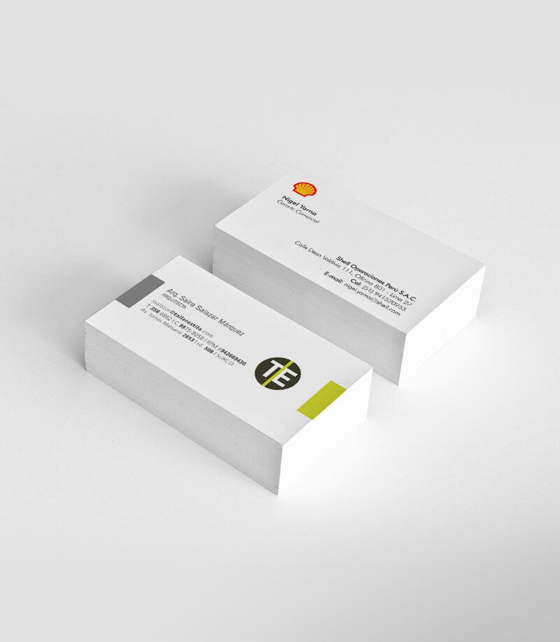 Tarjetas de presentación Shell y Taller Estilo